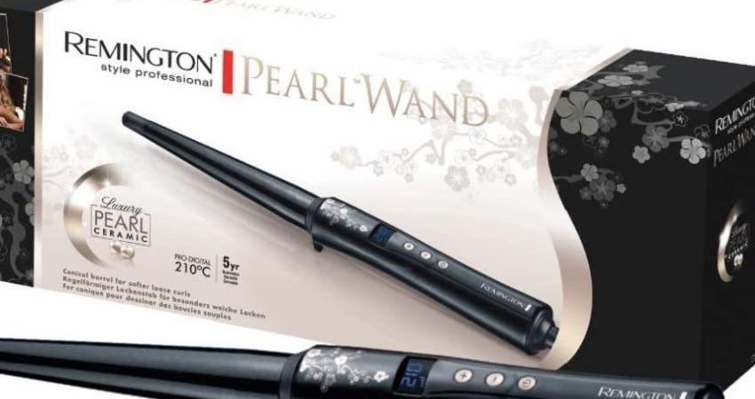 Remington Lockenstab Pearl Profi CI95, kegelförmig, LCD-Display, hochwertige Keramikbeschichtung mit echten Perlen, schwarz